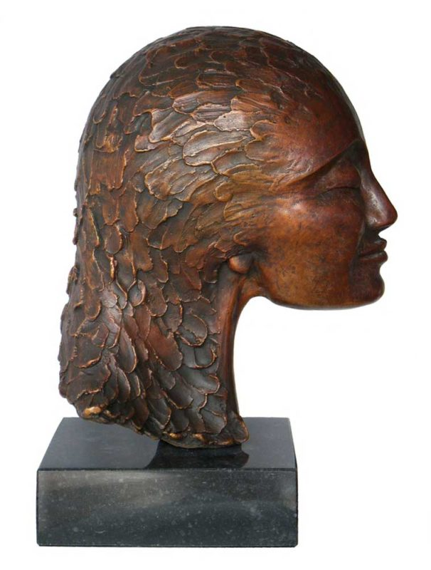 portrait head, bronze sculpture, smiling woman,