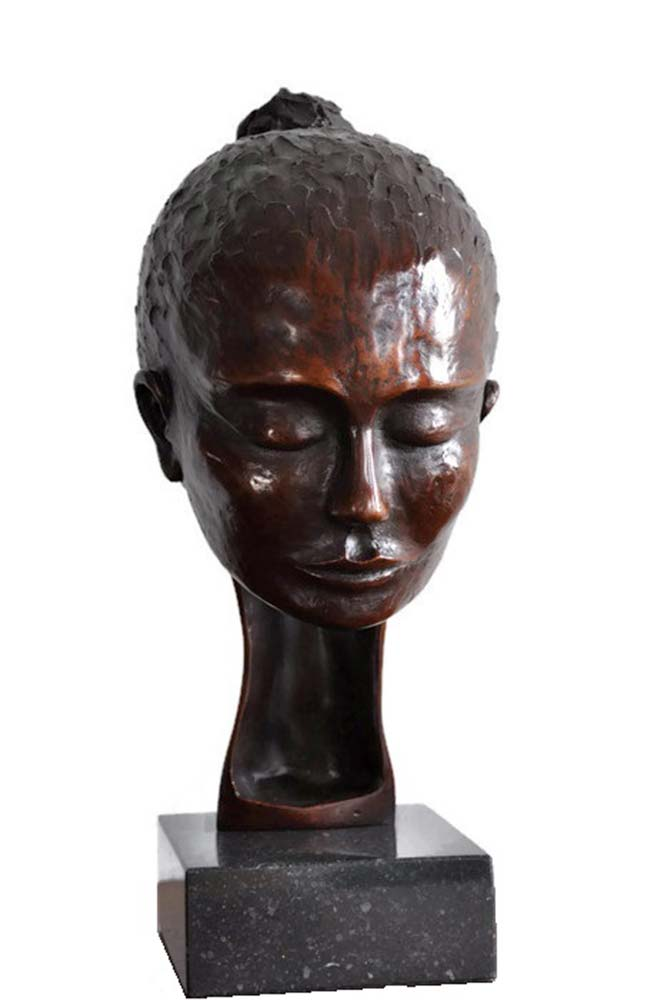 bronze portrait sculpture, bronze statue, statuette, woman thinking, bronze portrait, simplified portrait, bronze home decor, luxury home decor,